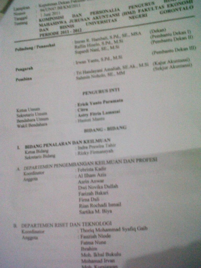 SK Pengangkatan Pengurus HMJ Akuntansi Periode 2011-2012