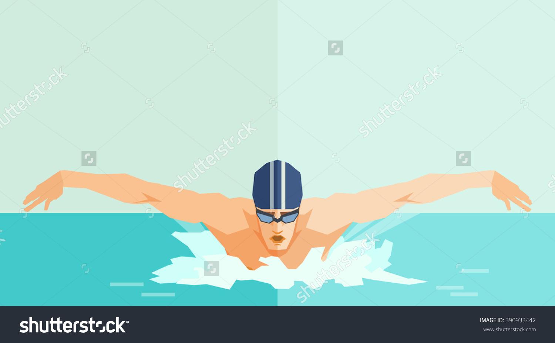 swimming - berenang - flat design - shutterstock